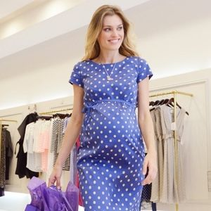 Seraphine Blue Polka Dot Maternity Dress